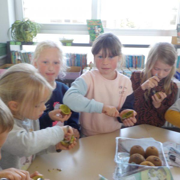 Kiwi's smullen in de klas