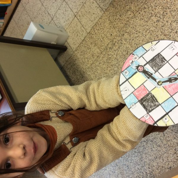 Piet Mondriaan klokje knutselen