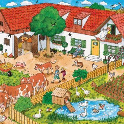 Sprinkhaan- en kikkerklas gaan naar de boerderij.